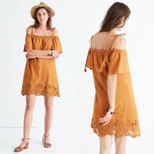 Madewell Camel Eyelet Cold Shoulder Crochet Dress